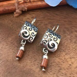 Silpada Sterling Earrings with dangling soapstone